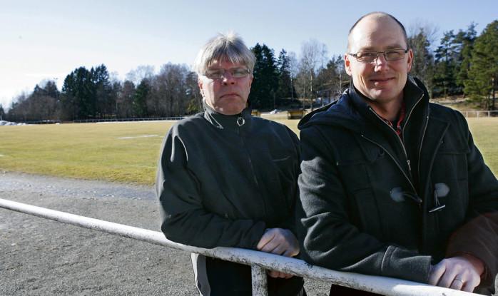 Stefan Nilsson och Per Carlsson i Bohus IF. I vår bygger de en light-arena för friidrott på grusplanen, men om fem år ser de gärna att en fullstor evenemangsarena för friidrott har tagit plats runt den befintliga fotbollsplanen på Jennylund.