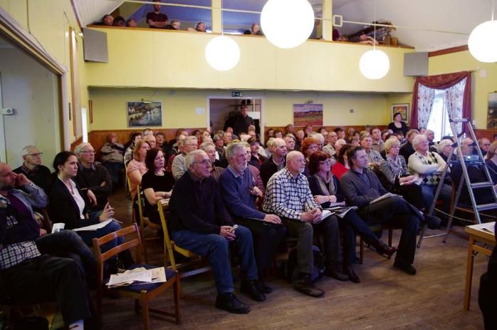 125 personer visade intresse för vindbruksplanen som föredrogs i Starrkärrs bygdegård på ortsutvecklingsmötet. Foto: David Rydén