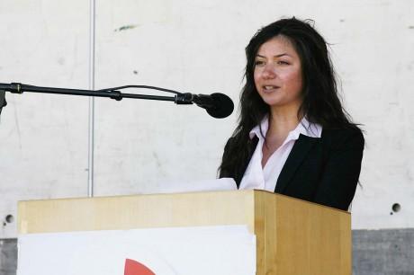 Kristina Raad (S), ordförande i Ale SSU, var glad över att de ungas också få höras på första maj.