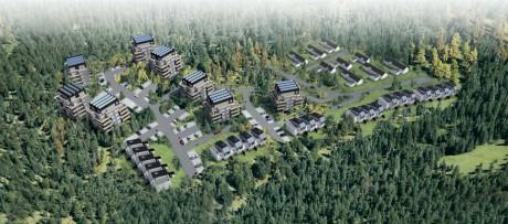 Fågelperspektiv över det nya bostadsområde som planeras vid Keillers damm i Surte. Illustration: thorbjörnsson+edgren arkitektkonto