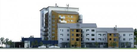 Det nya kvarteret som planeras vid nuvarande busscentrum i Älvängen.  Illustrationer av  Norconsult och  Hellenius-Bergelin arkitekter tecknarstudion.