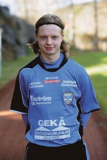 Victor Lundin gjorde Edet FK:s mål i förlustmatchen mot Mellerud, 1-2. Foto: Allan Karlsson