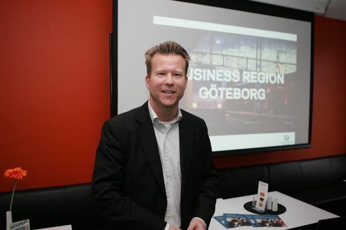 Mårten Andersson, omvärldsanalytiker på Business Region Göteborg, frukosttalade i Folkets Hus.