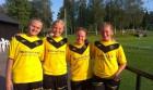 En kvartett glada målskyttar efter SBTK:s bortavinst mot Äspered i söndags. Från vänster Emelie Johansson, Amanda Errind, Andrea Lindgren och Sandra Augustsson.