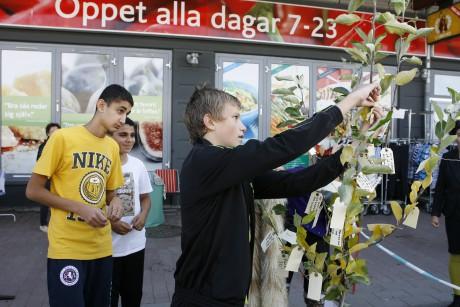 Ungdomar klär trädet med sina önskningar för framtiden.