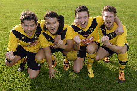 Kvalhjältar. Christian Rönkkö, Linus Carlsson, Mattias Johansson och Erik Häggström prickade in varsitt mål hemma mot Sätila.
