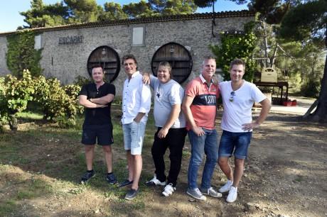 Streaplersgänget, bestående av Anders Larsson, Kenny Samuelsson, Per Lundin, Kjetil Granli och Henrik Göransson, vid sitt besök på vingården Languedoc-Roussillon. Foto: Tommy Holl