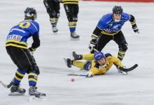 Det blev platt fall för Mattias Timan och Surte BK borta mot Nässjö. Hemmalaget vann med hela 11-0. Foto: Allan Karlsson