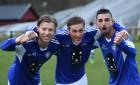 Vass triss! Fredrik Johansson, Simon Enyck och Rahel Faraj var glada målskyttar i Nol när Marieholm hemmabesegrades med 3-0.