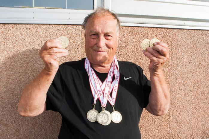 Heino Poutiainen från Nol erövrade många medaljer när Veteran-SM och NM avgjordes i sommar.