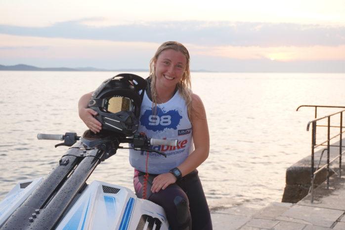Emma-Nellie Örtendahl är på nytt världsmästare i aquabike.  Arkivfoto: Privat.