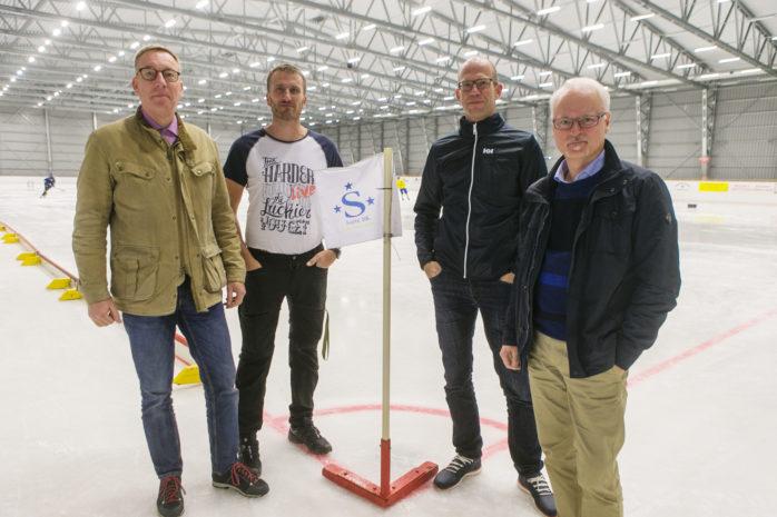 Fredrik Gerlin, Jörgen Janebrink, Christian Fischer och Per Brantsing Karlsson ser alla fram emot Womens World Cup i Ale Arena som kommer att bjuda på bandy i världsklass.