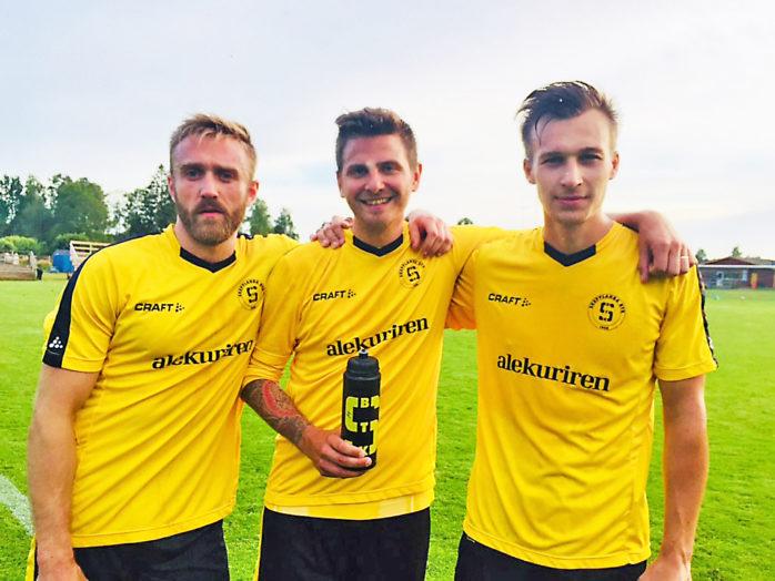Robin Andersson, Christian Rönkkö och Jonathan Westlund lyckliga målskyttar i SBTK.