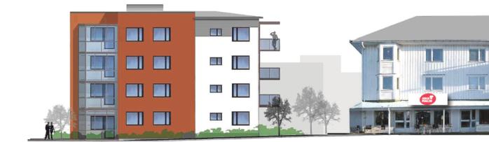 En tidig skiss från 2014 för hur Alebyggens nya kvarter Änggatan kan teckna sig från Kapellvägen.