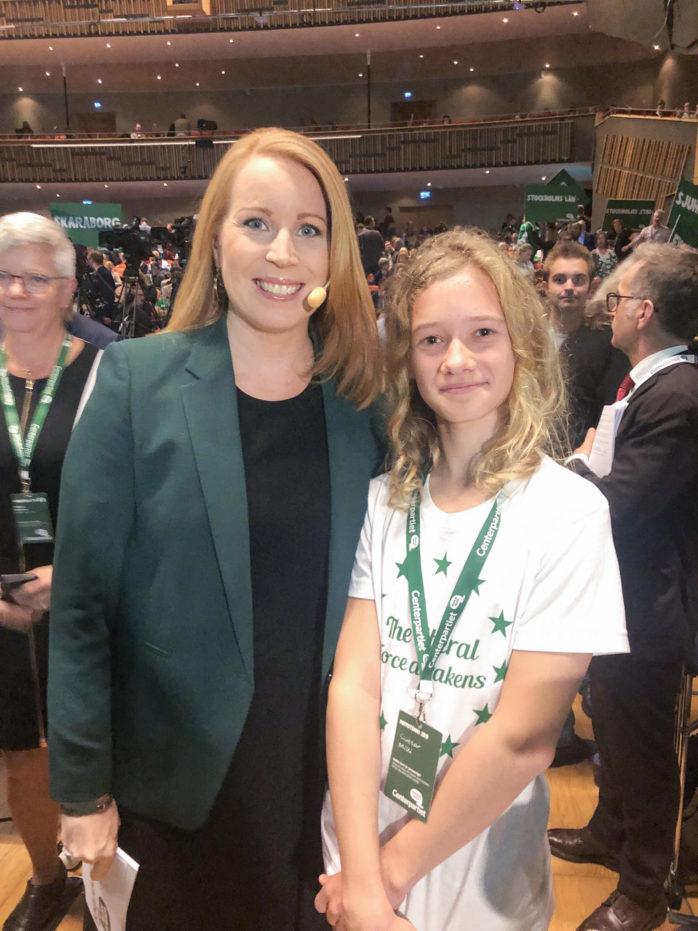 Caesar Milli från Nödinge träffade Annie Lööf på Centerpartiets stämma i Karlstad.
