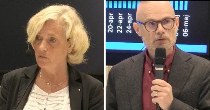 Ann Söderström, hälso- och sjukvårdsdirektör i Västra Götaland och smittskyddsläkaren Thomas Wahlberg under fredagens presskonferens.