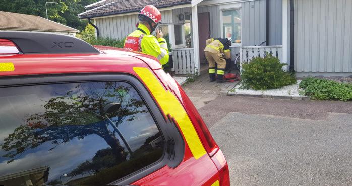 En diskmaskin tog eld i en villa på Krokängsvägen i Nol på fredagskvällen.  Foto: Christer Grändevik