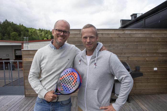 Männen bakom Dreampadel. Marcus Holmström och Tobias Rydén har båda fallit för sporten, men nu förverkligar de också en egen vision om en anläggning med extra allt i Älvängen.