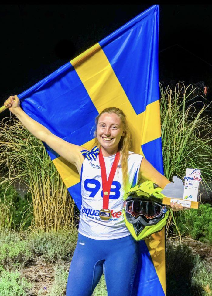 Emma-Nellie Örtendahl är europamästare i aquabike. Bild: Press.