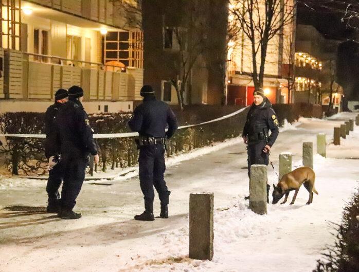En man hittades blodig utomhus i Nödinge och tre personer greps.