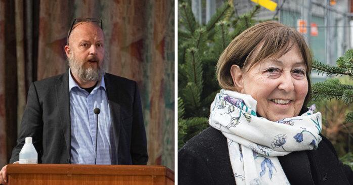 Kommunstyrelsens ordförande Mikael Berglund (M) och oppositionsråd Monica Samuelsson (S).