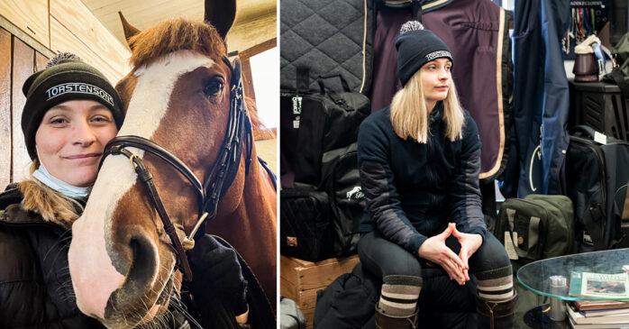 Under ett bruksprov i Strömsholm fick Lydia Lindén reda på att hennes häst hade smittats av ekvint coronavirus.  Bild: Privat/Jessica Lindén.