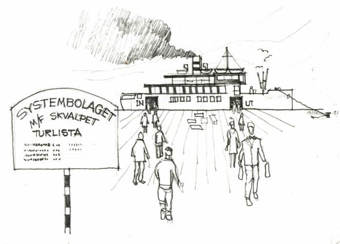 Kanalbåten Diana döps om till M/F Skvalpet i samband med invigningen på påskafton.