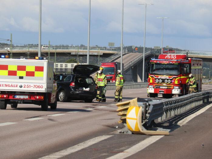 En singelolycka inträffade på onsdagseftermiddagen på E45 i Älvängen. Foto: Christer Grändevik